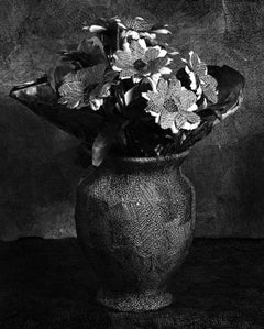Black and White Photo of drawing on paper, wrapped around Flower Bouquet