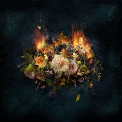 Photo composition with flowers and fruits, dark background, The  Fire Within