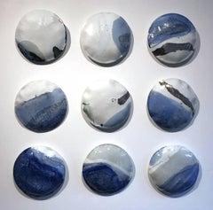 Porcelaine Pillows, White, Blue and silver glazed, Mural Installation, Stepanka