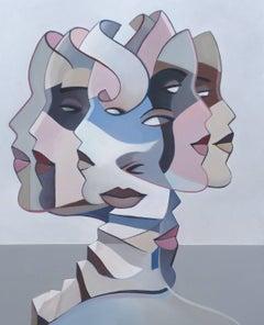 Women's head, pastel color by French artist Cordovelian