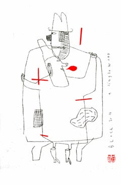 Serge Bloch, original work on paper, A single word