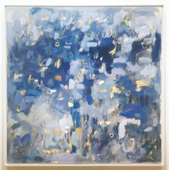 Linc Thelen, large abstract painting, blue tone, playful