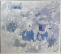Linc Thelen, Large abstract painting, blue white and gray, soft and playful