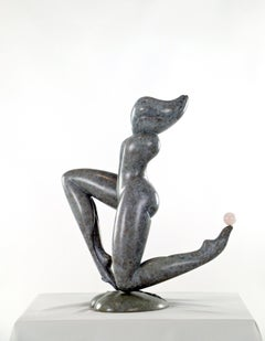 Original bronze sculpture, nude, woman on her knees, semi precious stone