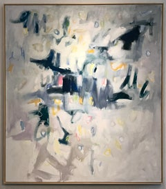Linc Thelen, Large abstract painting,Blue and white, Framed