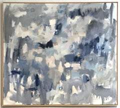 Linc Thelen, Large abstract painting, Blue and white, Framed