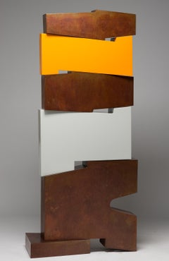Tall outside sculpture, geometric abstract steel sculpture, steel and orange