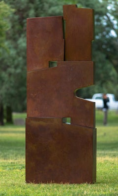 Tall outside sculpture, geometric abstract steel sculpture, steel, Pallo 4