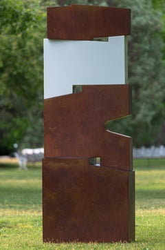 Tall outside sculpture, geometric abstract steel sculpture, steel and white