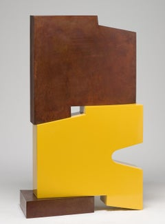 Tall outside sculpture, geometric abstract steel sculpture, steel and yellow