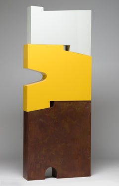 Tall outside sculpture, geometric abstract steel sculpture, steel yellow white