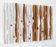 3 dimensional, mahogany, white and red, Kiss me, mural installation