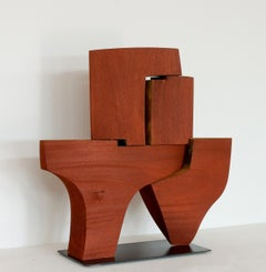 Geometric abstract, mahogany sculpture, mid century style, Pascal Pierme