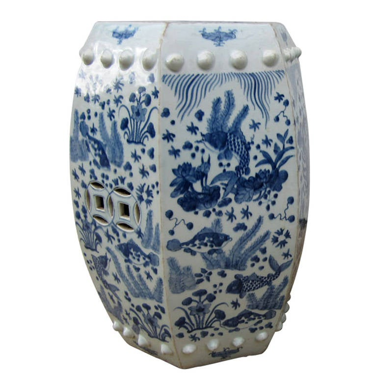 hexagonal chinese blue and white garden seat stool at 1stdibs