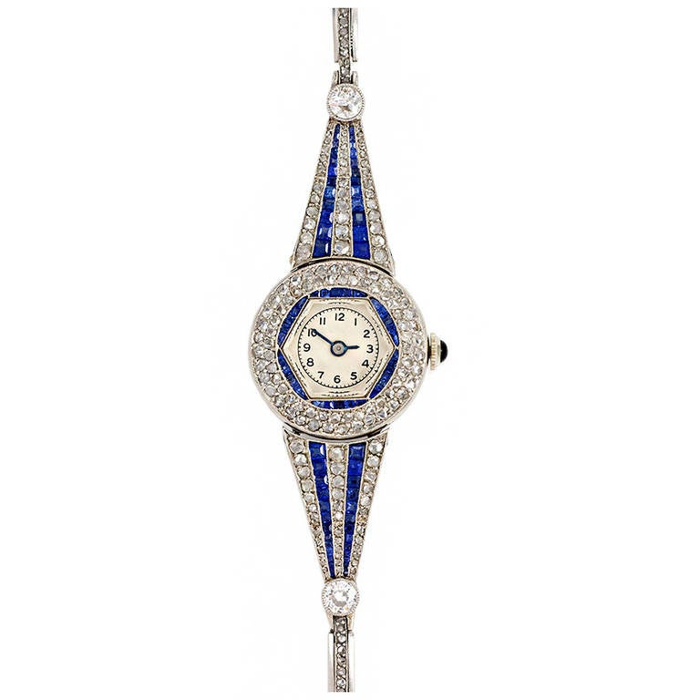 Art Deco Lady S Platinum Sapphire And Diamond Bracelet
