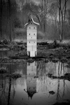 Robert Hite - Prayer House (Black and White Photograph of Structure in the Woods)