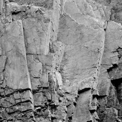 Rockface 17 (Abstract Square Black and White Photo of Jagged Rock Quarry)