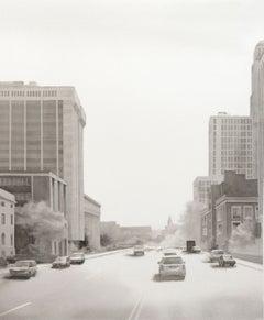 Washington Street (Modern Realist Cityscape Black & White Watercolor Painting)