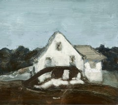 House Along the Way (Contemporary Oil Painting on Panel of White Country Home)