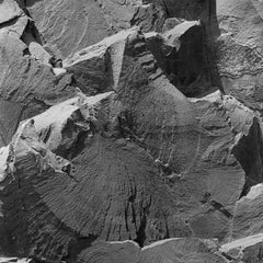 Rockface 11 (Large Abstract Square Black and White Photo of Jagged Rock Quarry)