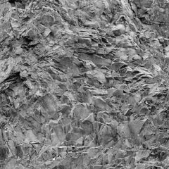Rockface 36: Large Square Black & White Photograph of Graphic Jagged Rock Cliff
