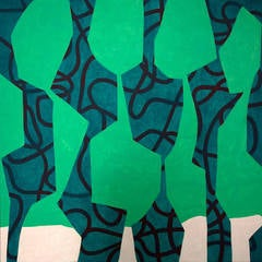 Five Figures (Colorful Contemporary Abstract Square Painting on Canvas)