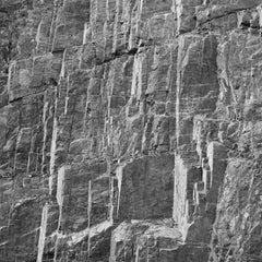 Rockface 18 (Large Abstract Square Black and White Photo of Jagged Rock Quarry)