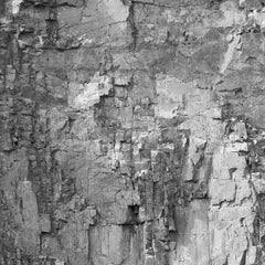 Rockface 30: Large Square Black & White Photograph of Graphic Jagged Rock Cliff