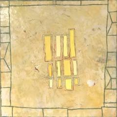 Yellow Quilt (Modern Abstract Butter Yellow Encaustic Painting on Panel)