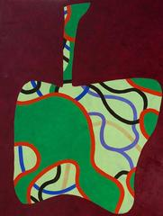 Apple #1 (Contemporary Abstracted Still Life Oil Painting)