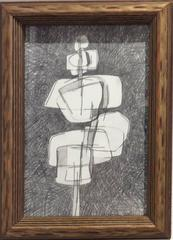 Infanta II (Small Abstract Cubist Graphite Drawing on Paper in Vintage Frame)