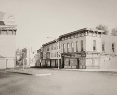 King Street, Troy (Modern Realist Cityscape in Black & White Watercolor)