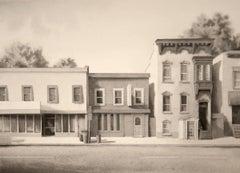 Madison Avenue, Albany (Modern Realist Cityscape in Black & White Watercolor)