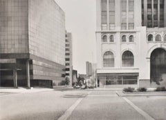 State and Pearl (Modern Photo-Realist Cityscape in B&W Watercolor on Paper)