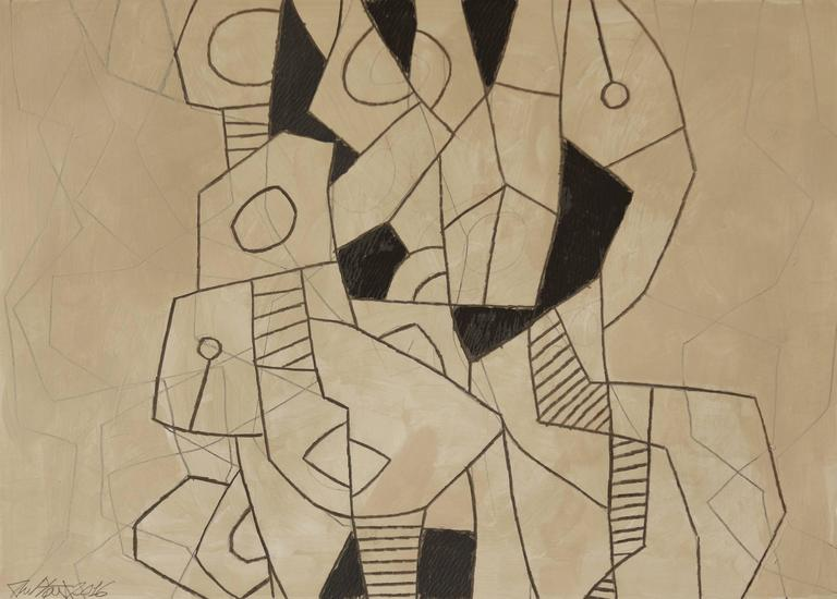 Black and Gray Abstract Drawing, Untitled 20 - Art by Ralph Stout