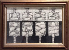 Four Morandi Bottles (Graphite Work on Paper in Mid-Century Modern Style)