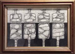 Four Morandi Bottles (Graphite Work on Paper in Mid-Century Modern Style)