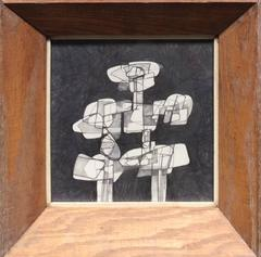 Infanta XXIV (Cubist Inspired Graphite Drawing in Mid Century Modern Frame)