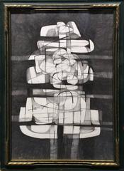 Infanta XXII: Abstract Cubist Style Graphite Drawing in Mid Century Modern Frame
