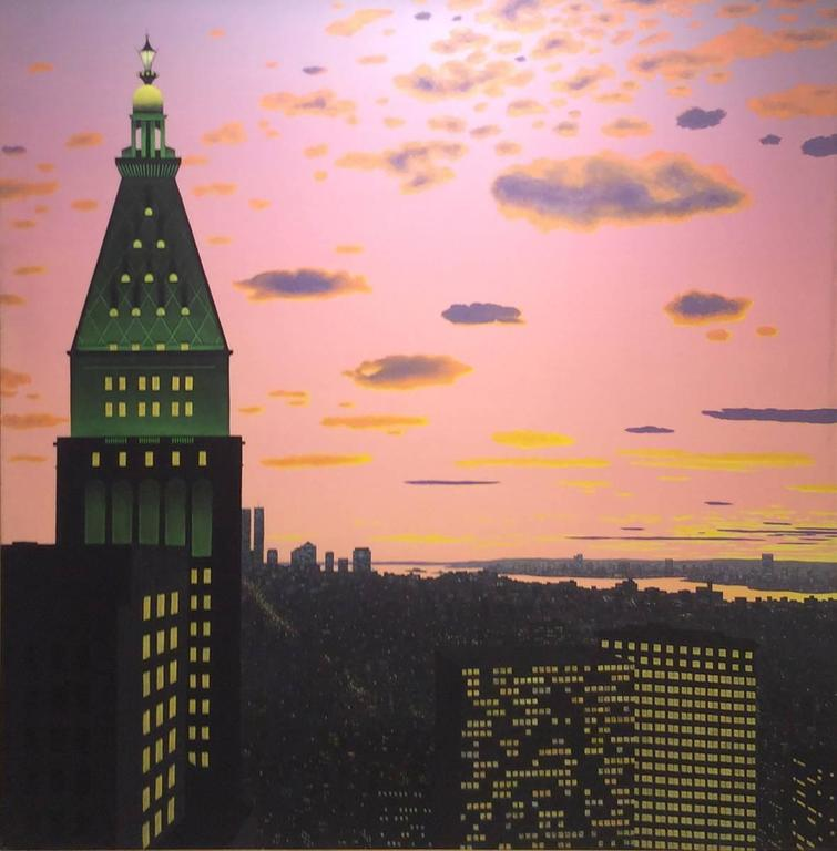 New York, New York (Oil Landscape Painting of Pink Sunset in Manhattan)