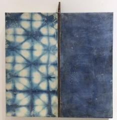 Sextant - indigo dyed silk encaustic