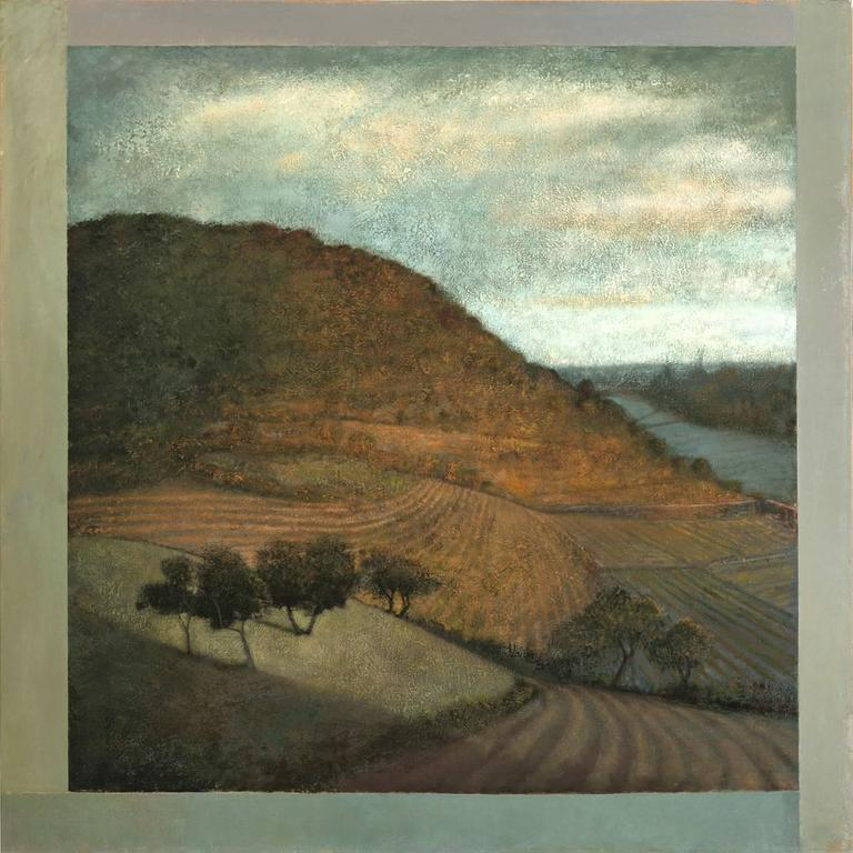 Modern landscape oil painting reminiscent of Hudson River School painters oil on canvas 48 x 48 inches  Romantic (yet modern) Hudson River oil landscape painting of rolling, hilly farmland with trees in the foreground with a luminous blue and golden