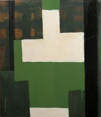 Study (Green) (Abstract Expressionist Oil Painting in Green, Black and White)