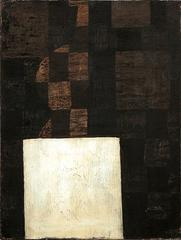 White Square (Small Abstract Painting, Chocolate Brown Checkerboard)