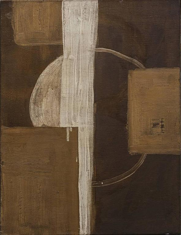 Christopher Engel Abstract Painting - Small Abstract (Minimal Composition in Earth Tones, White Circle, Brown Square)
