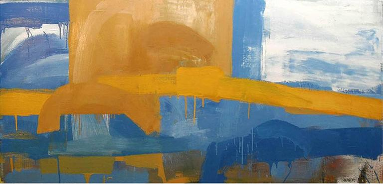 Canyon (Modern, Abstracted Landscape Oil on Canvas in Sky Blue & Yellow)
