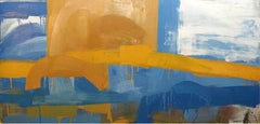 Canyon (Abstracted Landscape Painting, Oil on Canvas in Sky Blue & Yellow)