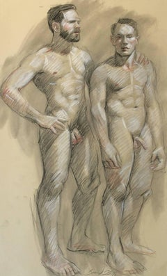 MB 805 (Figurative Charcoal Drawing on Paper of Two Male Nude Models)