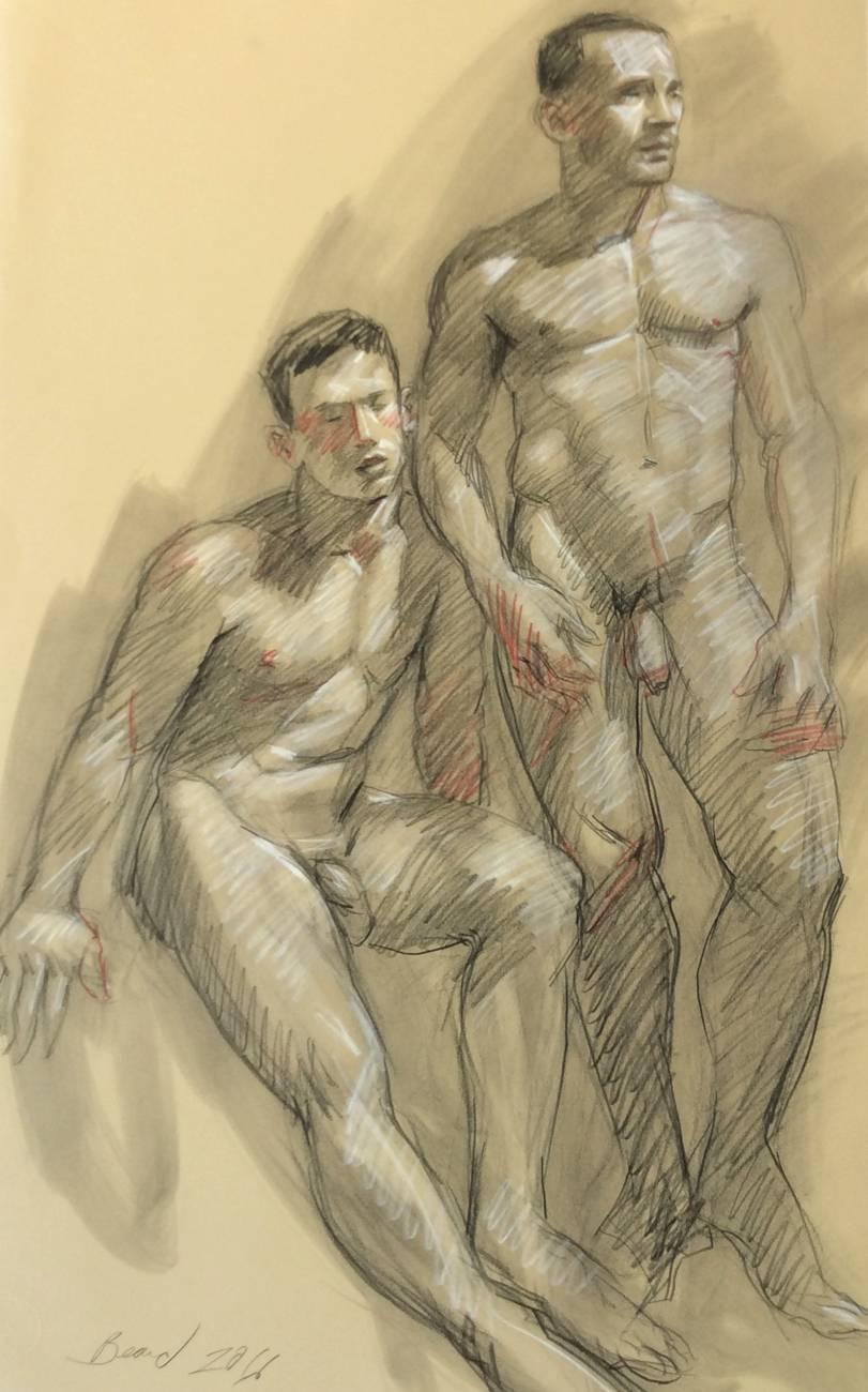 MB 806 (Figurative Charcoal Drawing on Paper of Two Muscular Male Nudes)