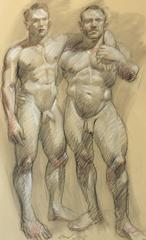 MB 807 (Figurative Charcoal Drawing on Arches Paper of Two Male Nude Models)